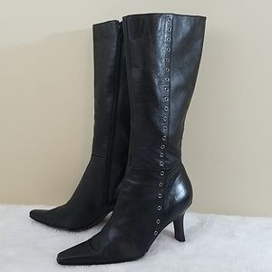 Nine West Sz 8.5 Black Leather Mid Calf Boots